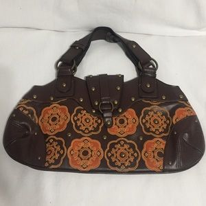 NY & Co brown purse with embroidery.